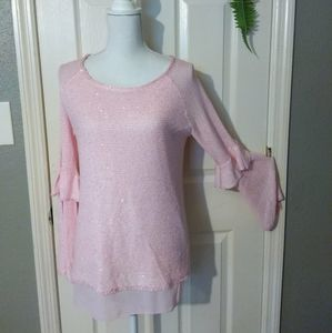SPRING PINK LIGHT SPARKLE TOP NWT